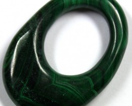 45.6 CTS  MALACHITE CARVING TOP POLISH