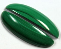 27.7 CTS CABOCHON HIGH DOME MALACHITE PAIRS