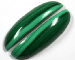 29.3  CTS CABOCHON HIGH DOME MALACHITE PAIRS