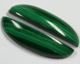 26.60 CTS CABOCHON HIGH DOME MALACHITE PAIRS