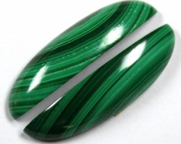 26.00 CTS CABOCHON HIGH DOME MALACHITE PAIRS
