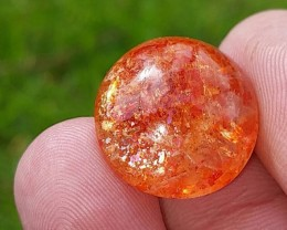 18ct 18mm SUNSTONE cabochon 18mm round by 8mm deep rainbow speckle