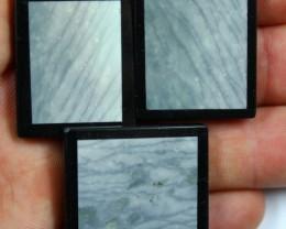 135.1 CTS 3 PCS INTARSIA JASPER WAVE PATTERN BLACK ONYX