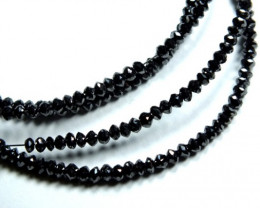 22.30cts BLACK FACETED DIAMOND STRAND  SD-101