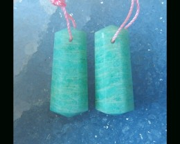 Natural Amazonite Faceted Earring Beads - 29x12x6 MM