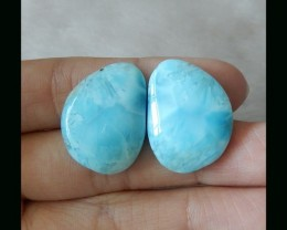 Rare Gemstone Series - Natural Lariamr Cabochon Pair , 24x18x5 MM