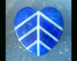 Love Heart - Lapis Lazuli Intarsia Heart - 33x34x5 MM