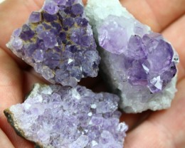 360.0 CTS 3 PIECES AMETHYST GEMSTONE DISPLAY SPECIMEN