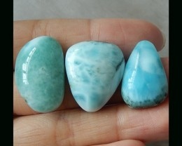 3 pcs  Skyblue  Larimar Cabochons On Sale  - 62.5 CTS