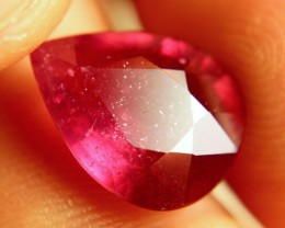7.69 Carat Pinkish Red Pear Cut Ruby - Gorgeous