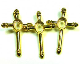 THREE GOLD STERLING SILVER CROSS TO TAKE 6X4MM   MLF2