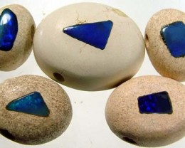 DRILLED PARCEL OPAL INLAY IN SANDSTONE 49CTS [MX153 ]