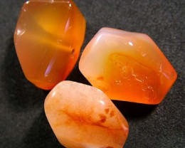 CARNELIAN BEAD DRILLED (3PC) 50 CTS FNP 185  (NP)