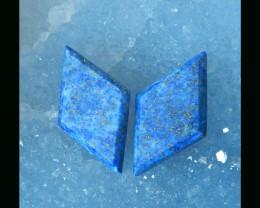 Free Shipping Series  - Lapis Lazuli Cabochon Pair  -  26x14x3 MM