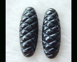 Obsidian Carving Cabochon Pair  -  30x12x6 MM