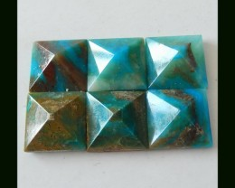 October Birthday Gemstone - Blue Opal Pyramid Set  ,12x6 MM