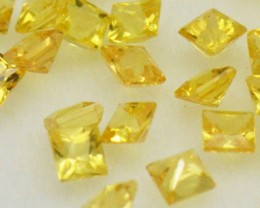 2mm Yellow Sapphire Princess cut square gemstones 1ct 12 gems