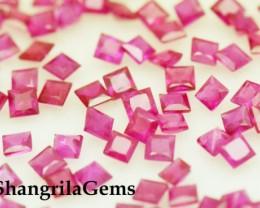 2mm Red Ruby Princess cut square gemstones 2ct 28 gems