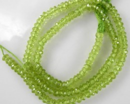 FABULOUS AAA QUALITY 4-4.5MM MICRO-FACETED PERIDOT ROUNDEL BEADS!!