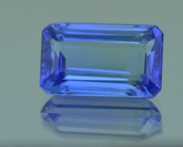 12mm 4.42ct Tanzanite Emerald cut gemstone blue purple 12 x 7.24 x 5.29mm