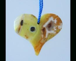 Yellow Opal Heart Shape Pendant Bead - 21x24x4 MM