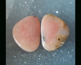 Natural Peru Pink Opal Cabochon Pair , 24x19x4 MM