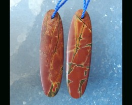 Multi Color Picasso Jasper Earring Beads , 40X11X4MM