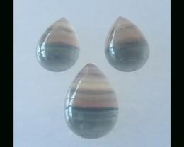 3 PCS Rainbow Fluorite Teardrop Cabochon Set ,25x18x6 MM