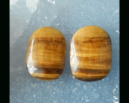 Golden Tiger Eye Cabochon Pair -  26x19x5 MM