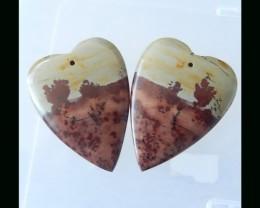 Paint Like Chohua Jasper Heart Shape Beads Pair - 35x27x4 MM