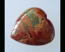 Multi Color Picasso Jasper Heart Shape Pendant Bead  -  35x8 MM