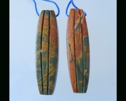 Big Dangle Earring  - Multi Color Picasso Jasper Earring Beads  - 43x11 MM