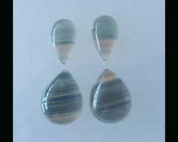 48Cts  Rainbow Fluorite Teardrop Cabochon Set For Jewelry Design