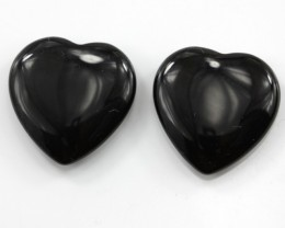 21.22cts Matching Onyx Double Heart Cab Shape Drilled