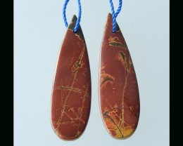 Natural Multi Color Picasso Jasper Earring Bead  - 40x13x4 MM