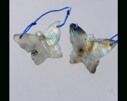 Butterfly Carving Labradorite Earring Bead - 21x29x5 MM