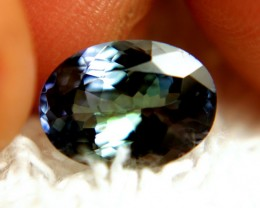 CERTIFIED - 3.18 Carat Green / Blue African VVS1 Tanzanite - Gorgeous