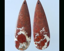 Orbicular Rhyolite Bird's Eye Earring Bead  - 46x15x5 MM