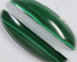 28.50 CTS MALACHITE PAIR OF STONES TOP GLOSSY POLISH ON PAIR