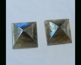 Fashion Faceted Labradorite Cabochon Pair - 10x6 MM