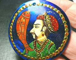 54mm round Matsya Manu Fish hand painted on Abalone shell