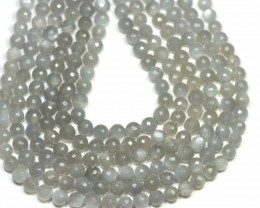 7mm 7inch Dark Grey Moonstone BEADS faceted Msg004  NEW ITEM