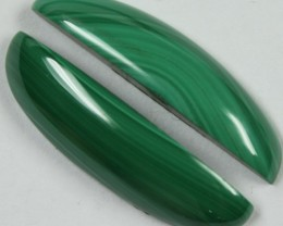 27.30 CTS MALACHITE PAIR OF STONES TOP GLOSSY POLISH ON PAIR