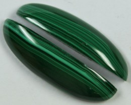 26.90 CTS MALACHITE PAIR OF STONES TOP GLOSSY POLISH ON PAIR