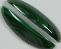 27.50 CTS MALACHITE PAIR OF STONES TOP GLOSSY POLISH ON PAIR
