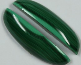 28.10 CTS MALACHITE PAIR OF STONES TOP GLOSSY POLISH ON PAIR