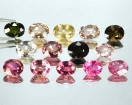 19.49 Cts Natural Multi Color Tourmaline Mozambique 14 Pcs Res 299$