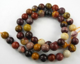 HIGH QUALITY 8.00-8.50MM NATURAL MULTI-COLORED MOOKAITE ROUND BEAD STRAND!!