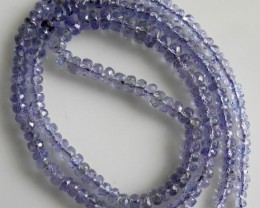 AA+ GRADE TANZANITE 3-3.5MM FACETED ROUNDEL BEAD STRAND-LOVELY!!