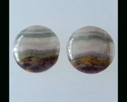 Natural Fluorite Cabochon Pair - 25x7 MM